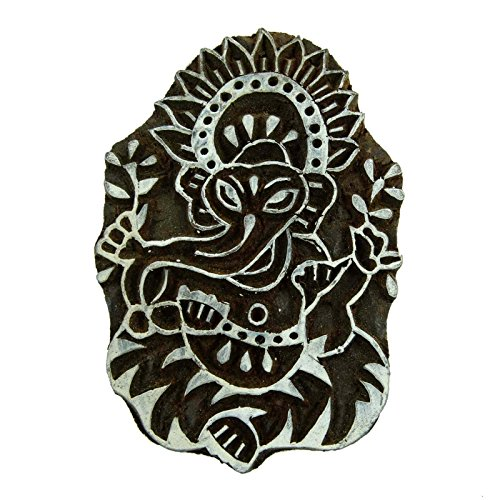 Hand Carved Lord Ganesha Stamps Indian Wooden Decorative Printing Blocks Wood