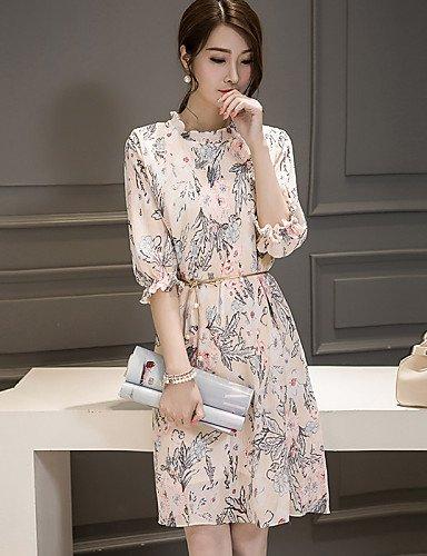 PU&PU Robe Aux femmes Mousseline de Soie Bohème,Imprimé Col Arrondi Mi-long Polyester , blue-s , blue-s