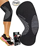 PHYSIX GEAR SPORT Knee Support Brace - Premium Recovery & Compression Sleeve For Meniscus Tear, ACL, Running & Arthritis - Best Neoprene Wrap for Crossfit, Squats & Heavy Duty Workouts (Single Grey S)