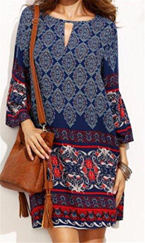 Cromoncent Des Femmes De Trou De Serrure Ethnique Impression Crewneck Manches 3/4 Tops T-shirt Bleu Robe