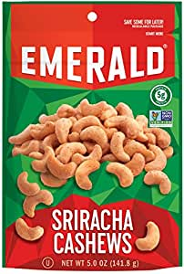 Emerald Nuts, Sriracha Cashews Stand Up Resealable Bag, 5 Ounce