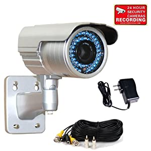 "VideoSecu 690TVL 1/3"" Pixim DPS Sensor Zoom Infrared CCTV Security Camera Day Night Outdoor 6-15mm Varifocal Lens 48 IR LEDs Built-in IR-Cut Filter Switch with Power Supply, Cable MDG"