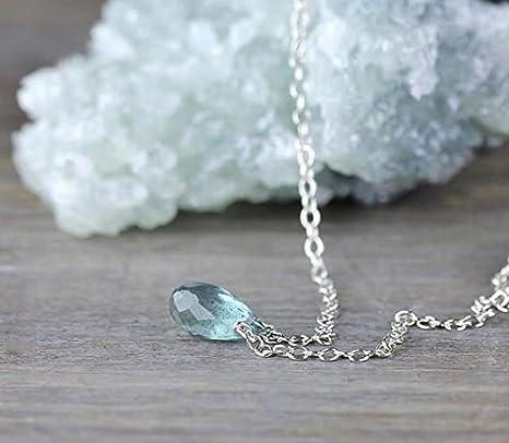 Collar de aguamarina con moisés en oro de 14 quilates relleno o plata de ley, delicadas joyas de aguamarina, colgante de lágrima, piedra verde azul 7 – 9 mm