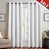 jinchan Blackout Curtain Liner Thermal Insulated White Blackout Curtains for Bedroom Energy Efficient Drapes for Living Room Grommet Curtains 84 Inch Length, One Pair