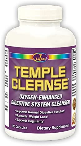 7 Lights Temple Cleanse 180 Capsules, Magnesium, Oxygen-Based Colon Cleanse Detox