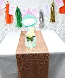 LQIAO Rose Gold Sequin Table Runner-14x108inch Sparkly Shimmer Sequin Fabric, Sequin Table Runner, Sequin Tablecloth, Table Linens Wedding Dining Party Shiny Decoration(18PCS)