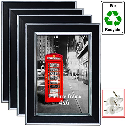 Amazing Roo 4x6 Picture Frame Silver Border Photo Frame, 4-Pack