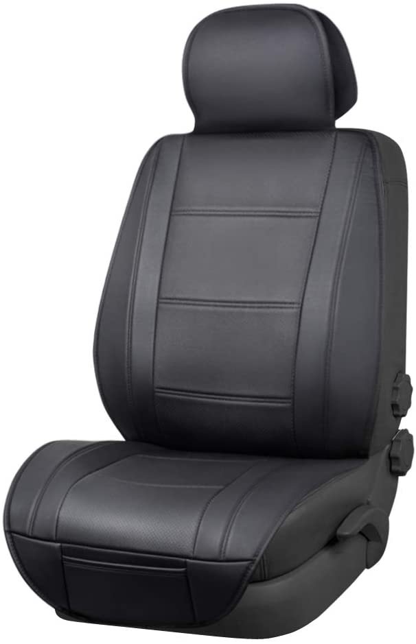 AmazonBasics Deluxe Sideless Universal Fit Leatherette Seat Cover, Black