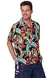 INGEAR Men's Hawaiian Shirt Button Down Casual Aloha Short Sleeve Beach Shirts (Black Parrot, X-Large)