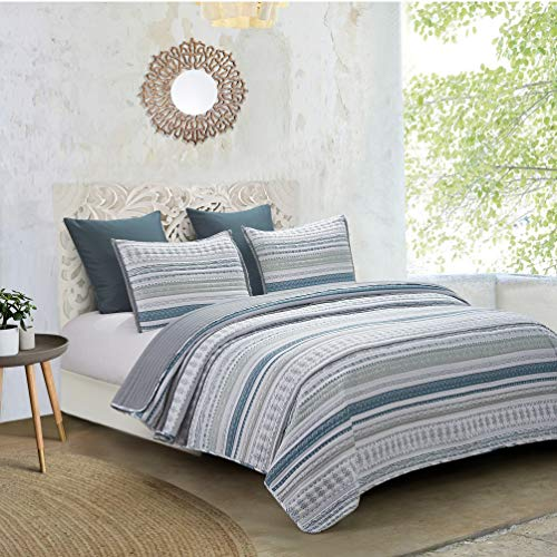 Hedaya Home Fashions Primitive Reversible, Boho Chic Tribal Stripes with Embroidered Fringe, 3-Piece Set with Quilt and Pillow Shams-Full/Queen, Blue/Grey - Hedaya Home Fashions