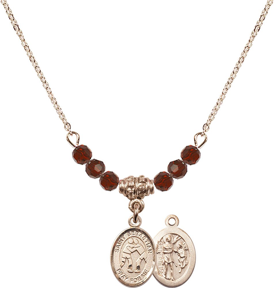 18-Inch Hamilton Gold Plated Necklace with 4mm Garnet Birthstone Beads and Gold Filled Saint Sebastian/Wrestling Charm.