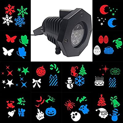 AU Plug : Outdoor LED Lawn Lamps Laser Spots Projector Waterproof 12 Cards Party Light Christmas XmasSnowflake Lights US/EU/UK/AU Plug