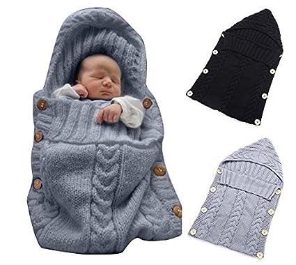 Fengh recién nacido Wrap Manta bebé lana Tejido manta saco de dormir Saco Silla de paseo
