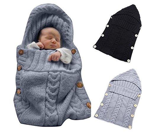 Omeny 1 Pc Newborn Wrap Manta de beb/é de Lana Manta de Punto de Manta Saco de Dormir Sack Stroller Wrap Gris