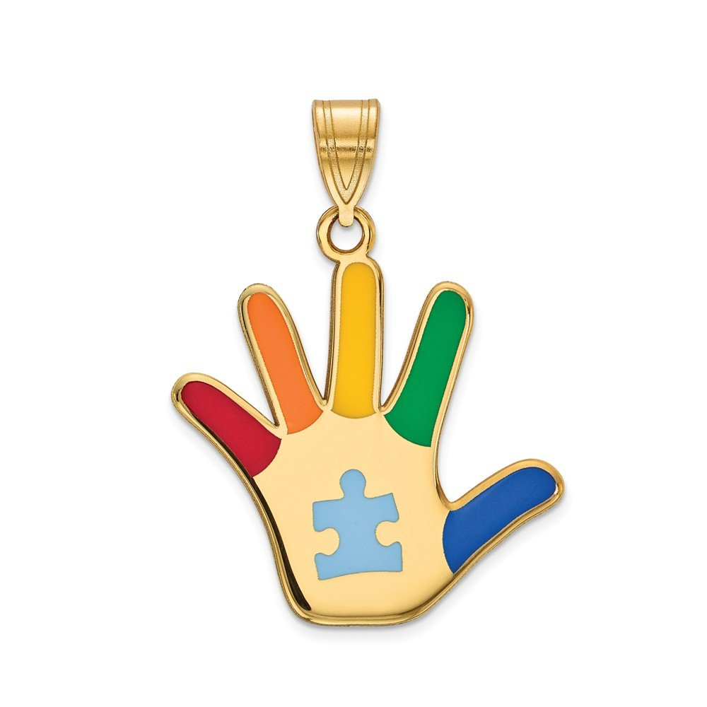 Top 10 Jewelry Gift 14k Enameled Autism w/Puzzle Piece Handprint Pendant