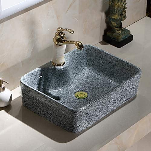 BoPin (蛇口なし)バスルームの洗面台、セラミック上記カウンタ流域ホームシンクレトロ技術流域バニティ単一流域利用可能な2つのサイズ ベッセルシンクシンク (Size : 47X38X14cm)