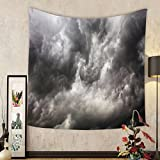 Gzhihine Custom tapestry Grey Decor Tapestry Weather Stormy Gloomy Air Clouds Lightings Scary Horror Movie Inspired Photo for Bedroom Living Room Dorm Gray and White