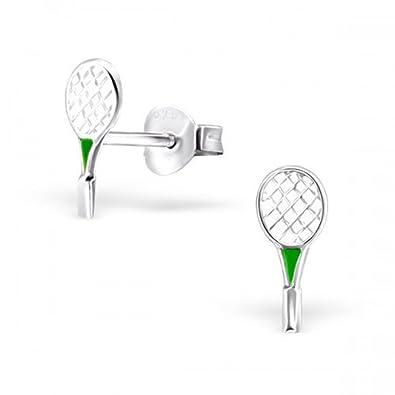 Raqueta de tenis (raqueta)/bádminton pendientes en plata de ley ...
