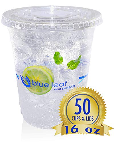 Eco Friendly Clear Cold Cups with lids 16 oz | Clear Compostable Cups - Plant Based PLA Cups | Blue Leaf Eco Products [50 Pack with Lids 16 oz]