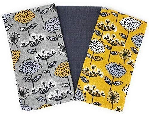 3 X Meadow Flower Dandelion White Grey Yellow 100% Cotton 45 X 65CM Tea Towels