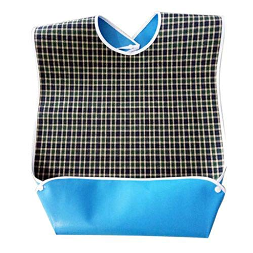 CapsA Adult Bibs Eating Dining Clothing Protectors Mealtime Protector with Crumb Catcher Patient Care Bibs Thickening Waterproof Pocket Trap Bib Adult Detachable Disability Aid Aprons (Green)