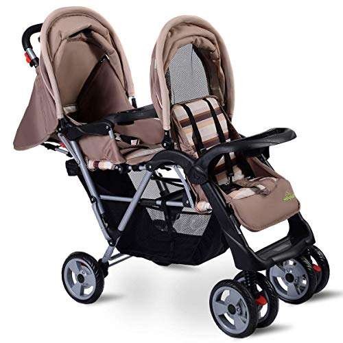 (HONEY JOY Double Stroller Infant Baby Pushchair Convenience Twin Seat (Grey))