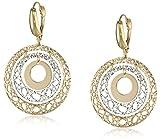 14k Two-Tone Yellow Gold Italian Fancy Filigree and High Polish Circle Dangle Earrings