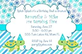 30 Invitations Turtle Twins Birthday Personalized Cards + 30 White Envelopes