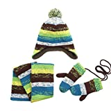 Per 3pcs Lined Stripe Knitted Set Hat+Scarf+Gloves with Short Plush Lining Winter Warm Keeping for Girls Boys Kids Children(blue,M)