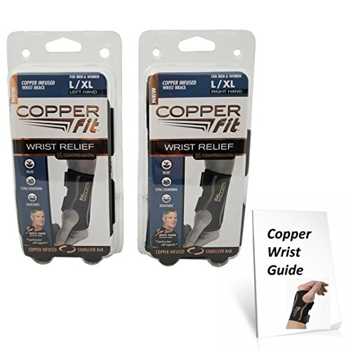 Copper Fit Compression Wrist Sleeve SET Left and Right Wrist Sleeve - Available in two sizes! by Copper Fit