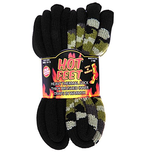 Hot Feet Cozy, Heated Thermal Socks for Men, Warm, Patterned Crew Socks, USA Men
