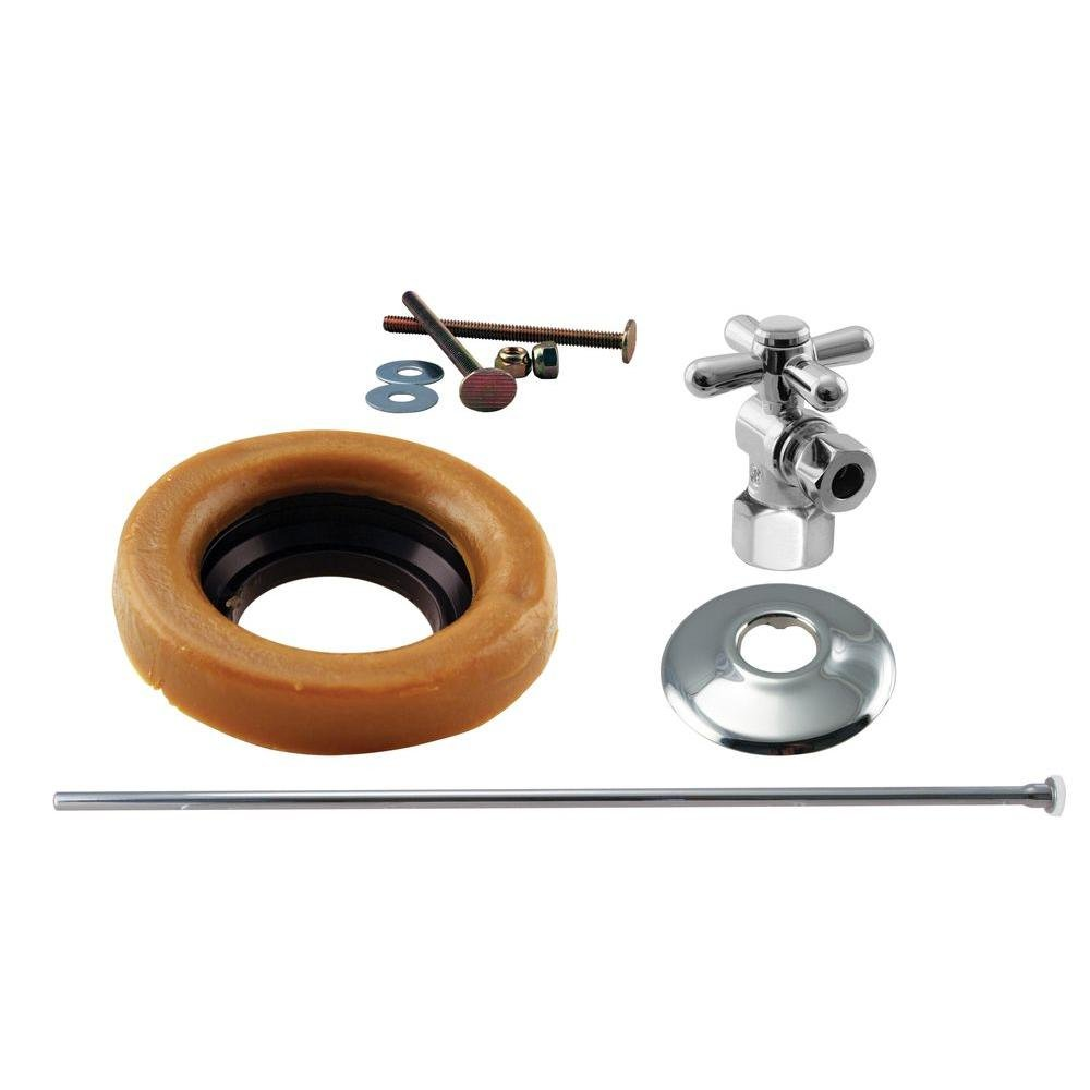 Westbrass Toilet Installation Kit with 1/4-Turn 1/2'' IPS Stop and Wax Ring with Cross Handle, Polished Chrome, D1615TBX-26