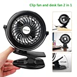OPOLAR F901 Rechargeable Clip and Table Fan, Upgraded LG 2200mAh Battery, USB or Battery Powered, 3 Speeds, Free Adjustable Head Small Personal 5.5 Inch Frame Black Fan for Baby Stroller