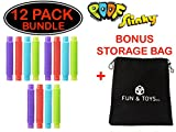 Fun & Toys Inc. Poof Pop Tubes (Toobs) Set of 12 (Colors May Vary) by Poof Slinky With Bonus Storage Bag