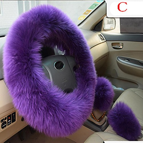 Amiley Plush Warm Steering Wheel Cover Woolen Handbrake Car Accessory Auto Fur 1 Set 3 Pcs (C)