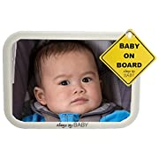 Baby Backseat Safety Mirror for Car- Glow in The Dark - Convex Shatterproof Glass - Safety Accessory - Fully Assembled - Clearly View Infant in Rear Car Seat - Matte Finish - Crash Tested