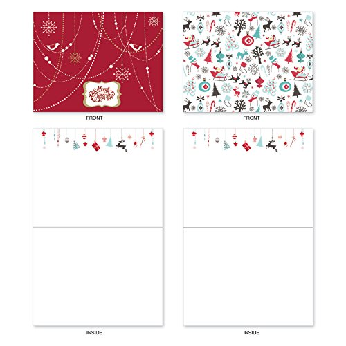 M6663XSB Red And Blue Retro Christmas : 10 Assorted Blank Christmas Note Cards Featuring Charming Christmas and Holiday Designs in Red and Blue, w/White Envelopes. Photo #6