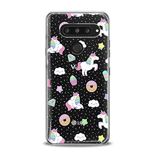 Lex Altern TPU Case for LG G8 Stylo 4 K11 G7 ThinQ G6 V40 V35 V50 K8 White Unicorn Cute Pink Clear Donuts Cover Silicone Durable Print Protective Girl Design Transparent Women Teen Flexible Pattern ()