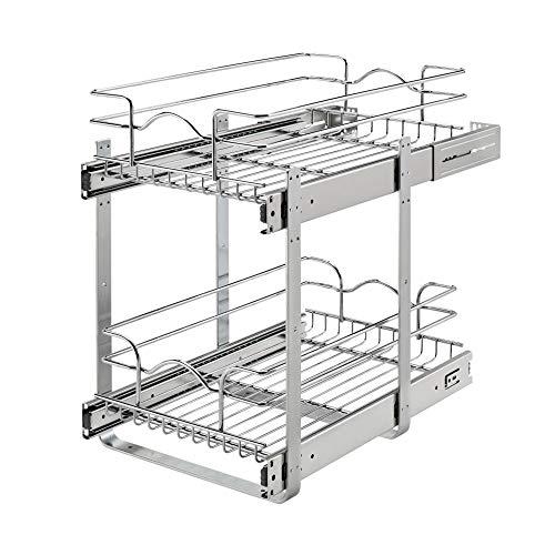 Rev-A-Shelf 5WB2-1218CR-1 12 x 18 Inch 2-Tier Wire Basket Pull Out Shelf Storage for Kitchen Base Cabinet Organization…