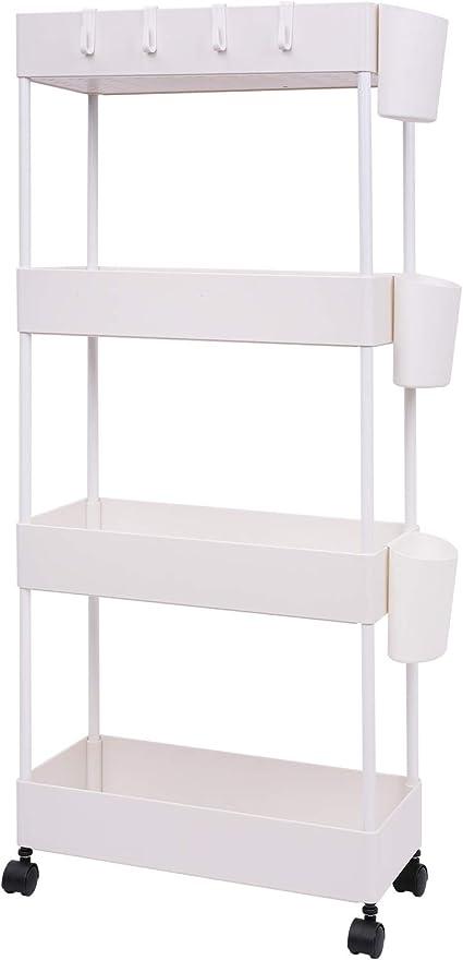 JAKAGO - Carrito rodante de almacenamiento con diseño delgado, estante organizador de 4 niveles para espacios pequeños, práctica estantería móvil para ...