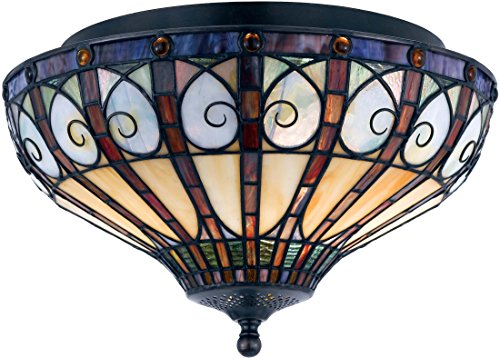 Quoizel TFAV1714VB Ava Tiffany Flush Mount Ceiling Lighting, 2-Light, 120 Watts, Vintage Bronze (9