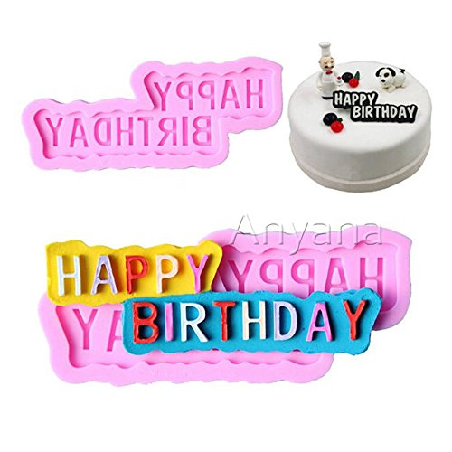 Anyana 3D HAPPY BIRTHDAY Baking Molds wishes Silicone Fondant molds alphabet Cake Decorating Tools Gumpaste cupcake topper decorations party resin Clay Chocolate Candy Molds Non stick easy to use