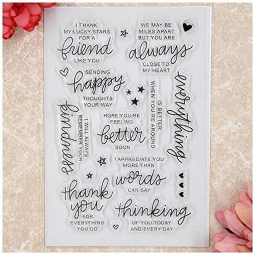 Sellos transparentes para hacer tarjetas decoraci/ón y /álbumes de recortes Kwan Crafts Word Friend Thank You Star Everything is Better