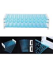 UKCOCO Plástico 3 capas 15 mm Lab Test Tub Rack Holder Tubería centrífuga 50 agujeros para suministros de laboratorio