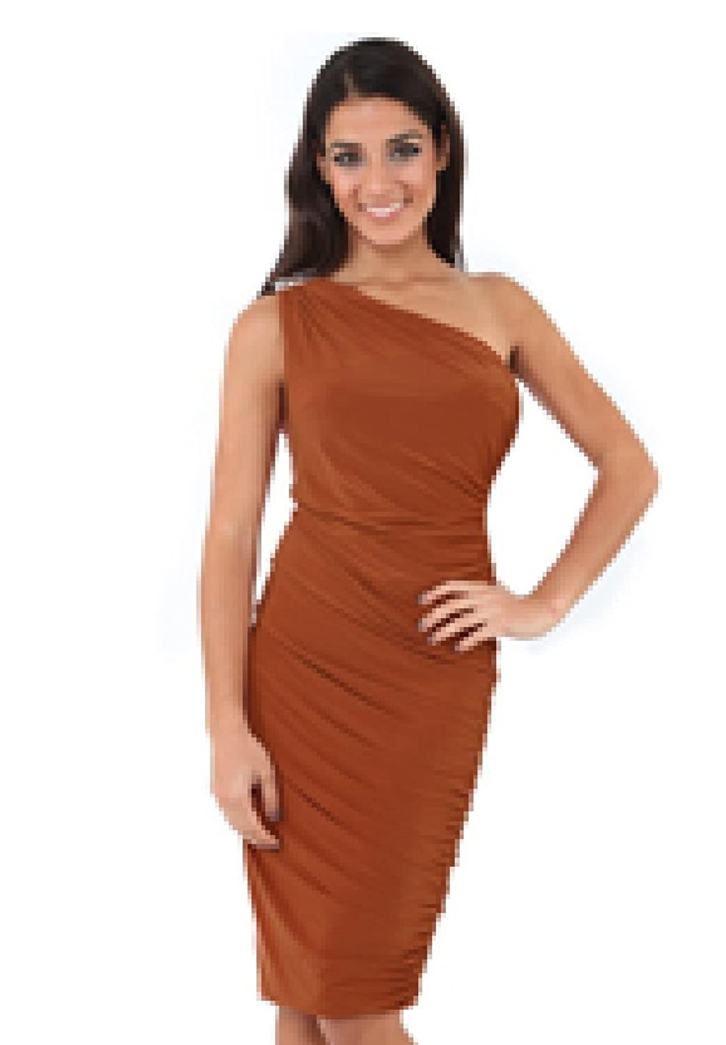 slinky grecian one shoulder figure hugging wiggle pencil dress