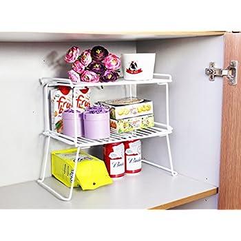 Amazon.com - Stackable Kitchen Cabinet Organizer and Storage Shelf ...