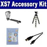 Polaroid XS7 Camcorder Accessory Kit includes: USB5PIN USB Cable, ZELCKSG Care & Cleaning, ZE-VLK18 On-Camera Lighting, GP-22 Tripod