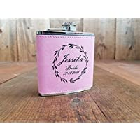 Pink Leather Engraved Personalized Bridesmaids Flask