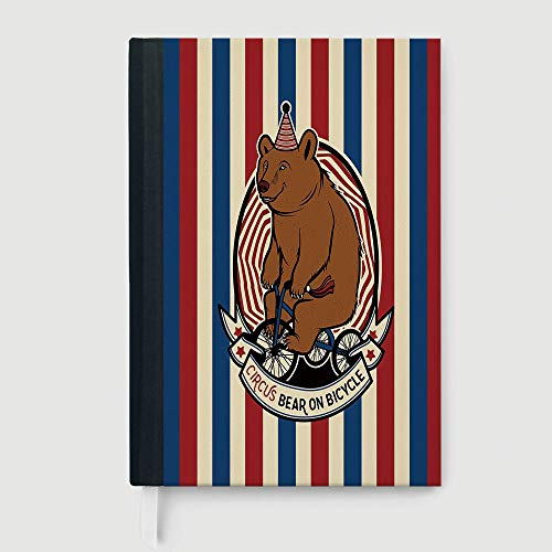Classic Retro Hardcover Business Student Notebook,Bear,Circus Bear on Bicycle Carnival Theme Cute Mascot with Hat on Striped Backdrop Decorative,96 Ruled Sheets,A5/8.24x5.73 in
