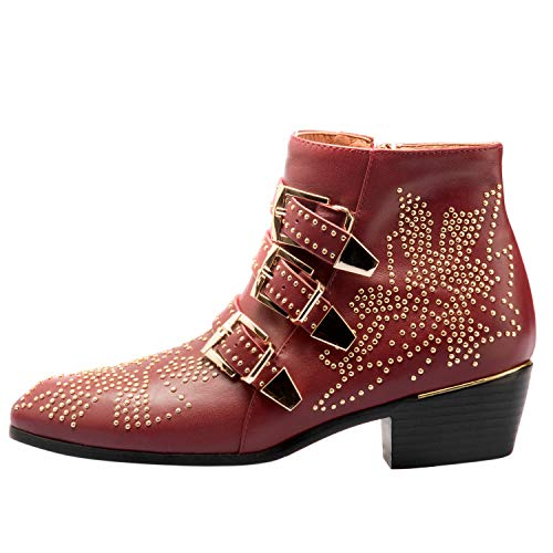 Boots for Women,Women's Leather Boot Rivets Studded Shoes Metal Buckle Low Heels Ankle Studded Booties Wine Red Gold 8.5 ()